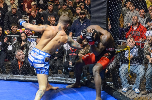 Cody Garbrandt swarms Charles Stanford for the finish at NAAFS: Rock N Rumble 8 in Akron, Ohio.